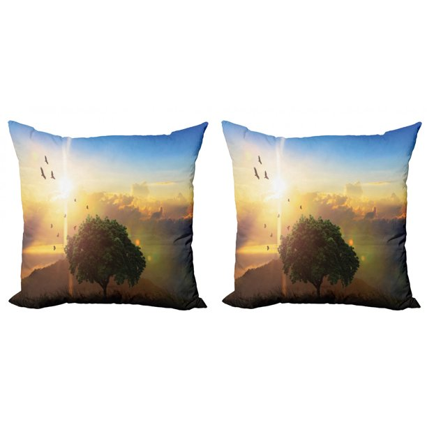 Summer Throw Pillow Cushion Cover Pack Of 2 Realistic Illustration Of Romantic Sunset Among The Hills A Lonely Tree On A Hill Zippered Double Side Digital Print 4 Sizes Multicolor By Ambesonne