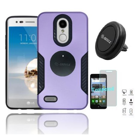 Phone Case for LG Fortune 2, LG Risio 3, LG K8 2018, LG Zone 4, LG Tribute Dynasty, LG Aristo 2 Hard Cover Case with Carbon Fiber Design + Tempered Glass + Air Vent Magnetic Car Mount (Purple)
