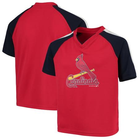 Youth Red St. Louis Cardinals Poly Mesh Raglan V-Neck (Cardinals Mesh)