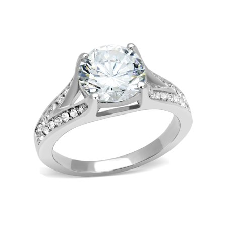 Big 9x9mm Round Cut Clear CZ Center Set in 316 Stainless Steel Promise Ring - Size 5 Round Clear Czs Ring