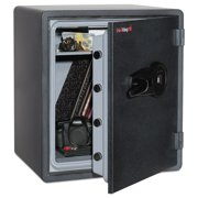FireKing One Hour Fire and Water Safe w/Biometric Fingerprint Lock, 2.14 cu. ft, Graphite