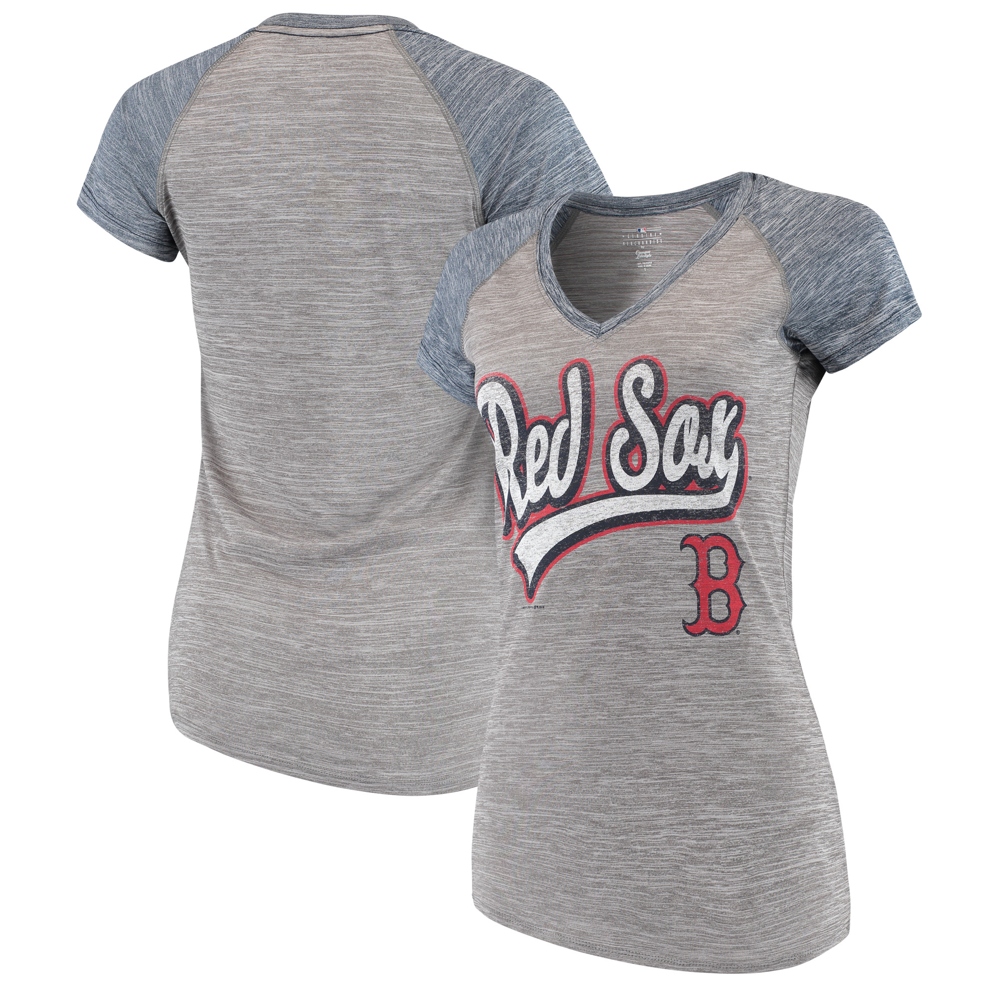 Women's New Era Gray Boston Red Sox Space Dye V-Neck T-Shirt