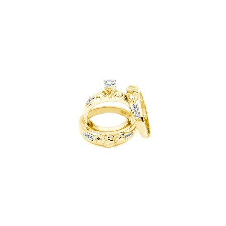 10k Yellow Gold Diamond Matching Claddagh Mens Womens His & Hers Trio Wedding Ring Set 1/8 (Ladies Claddagh Diamond Set)