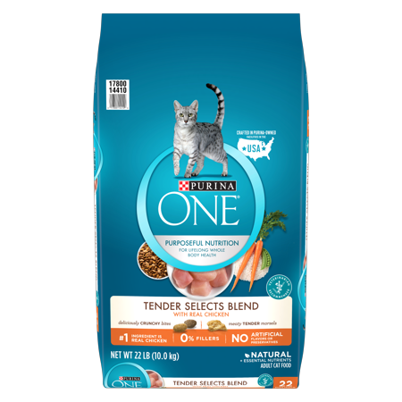 Purina One Tender Selects with Real Chicken Natural Dry Cat Food, 22 lb