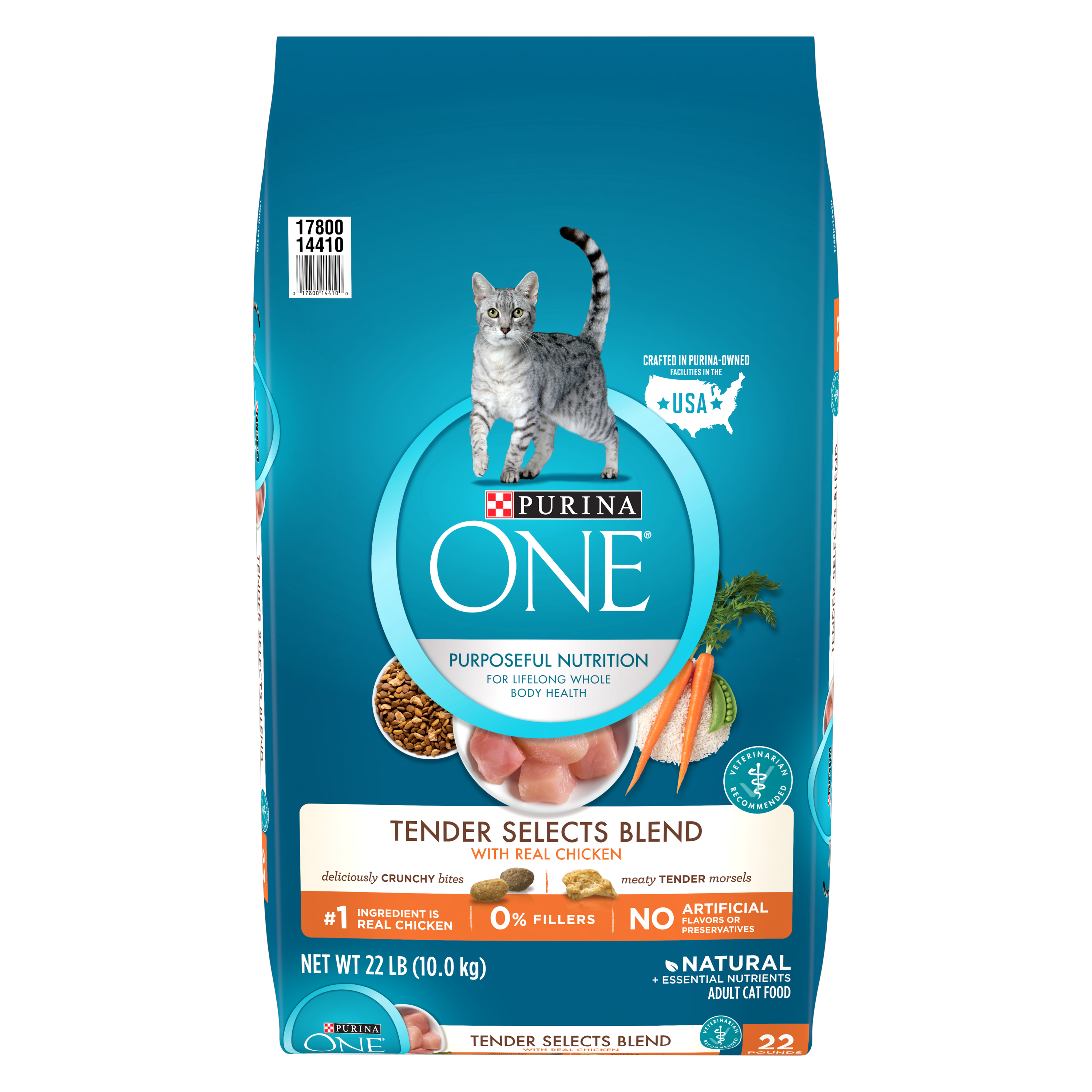 Purina ONE Tender Selects Blend With Real Chicken Adult Dry Cat Food, 22 lb