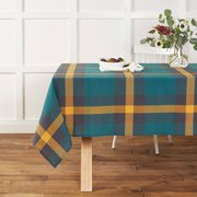 """Mainstays Oversized Plaid Tablecloth, 52""""W x 70""""L, Teal, Available in Multiple Sizes and Colors"""