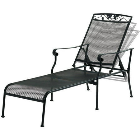 Mainstays jefferson wrought iron chaise lounge black for Black metal chaise lounge outdoor