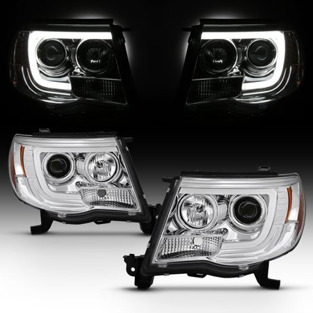 Fits 2005 06 2007 2008 2009 2010 2017 Tacoma Led Bar Projector Headlight Chrome