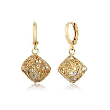 Encased Gems - Uniquely Designed White CZ Rose Encased Dangle Earrings