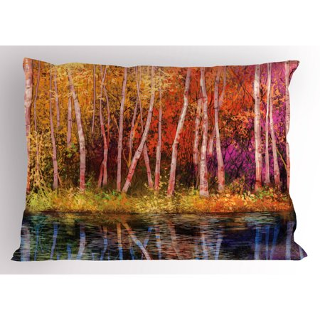 Flower Pillow Sham Fall Trees along with Lake Fall in Jungle Natural Paradise Best Places in Earth, Decorative Standard Size Printed Pillowcase, 26 X 20 Inches, Grink Purple, by (Best Pillow On Earth)