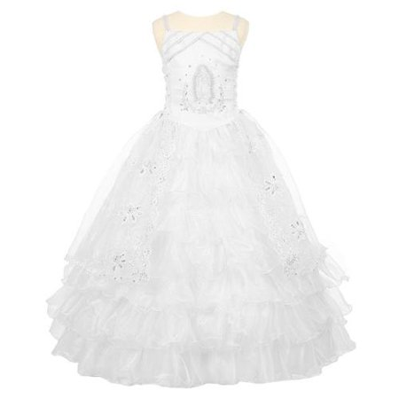 Rain Kids Girls White Rhinestone Virgin Mary First Communion Dress 10 - Present For First Communion