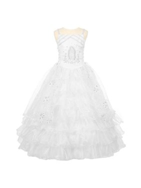 a5514f4a272e Product Image Rain Kids Girls White Rhinestone Virgin Mary First Communion  Dress 10