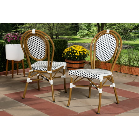 Set of 2 Baxton Studio Gauthier Classic French Indoor and Outdoor Navy and White Bamboo Style Bistro Stackable Dining Chair Set ()