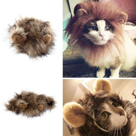 Pet Costume Lion Mane Wig for Cat Dog Halloween Christmas Party Dress Up 35cm - Walking On The Street Halloween