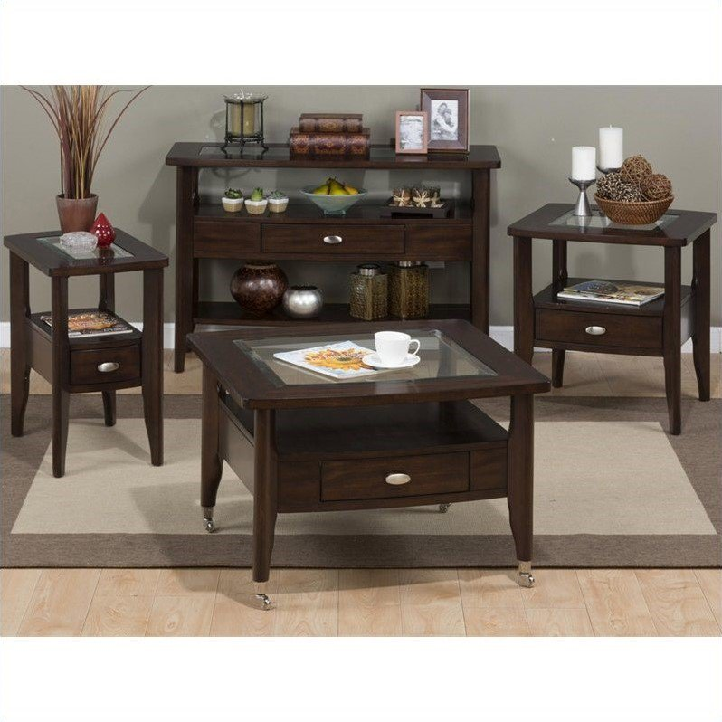 Jofran 827 Series 4 Piece Coffee Table Set in Montego Merlot by Jofran