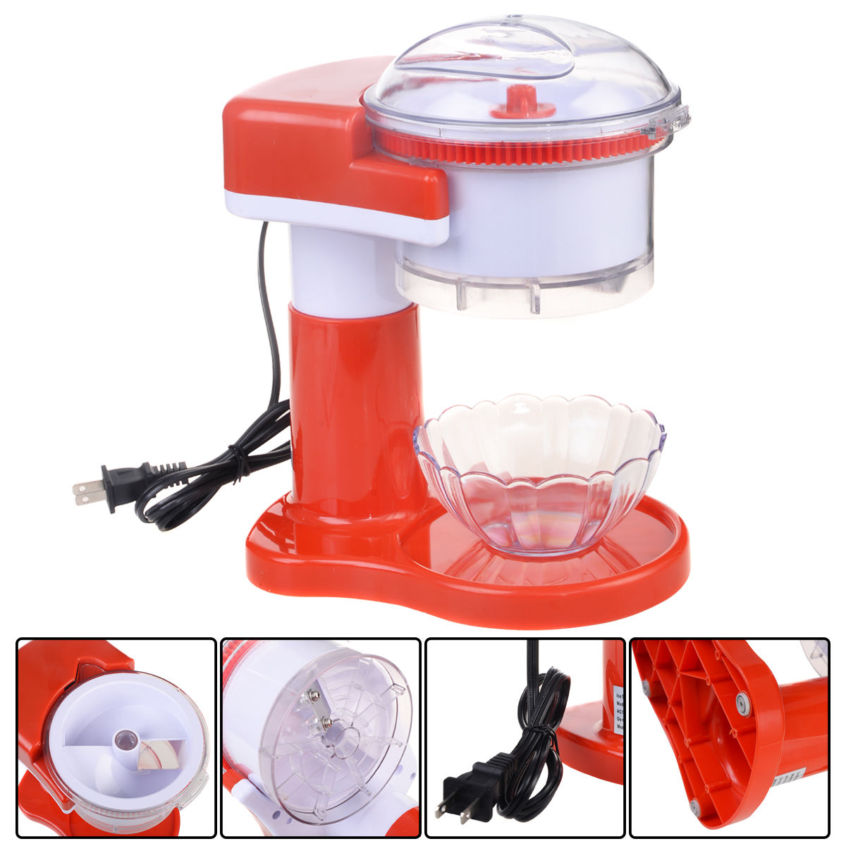 Costway Electric Ice Shaver Crusher Machine Snow Cone Maker Commercial Shaved Red