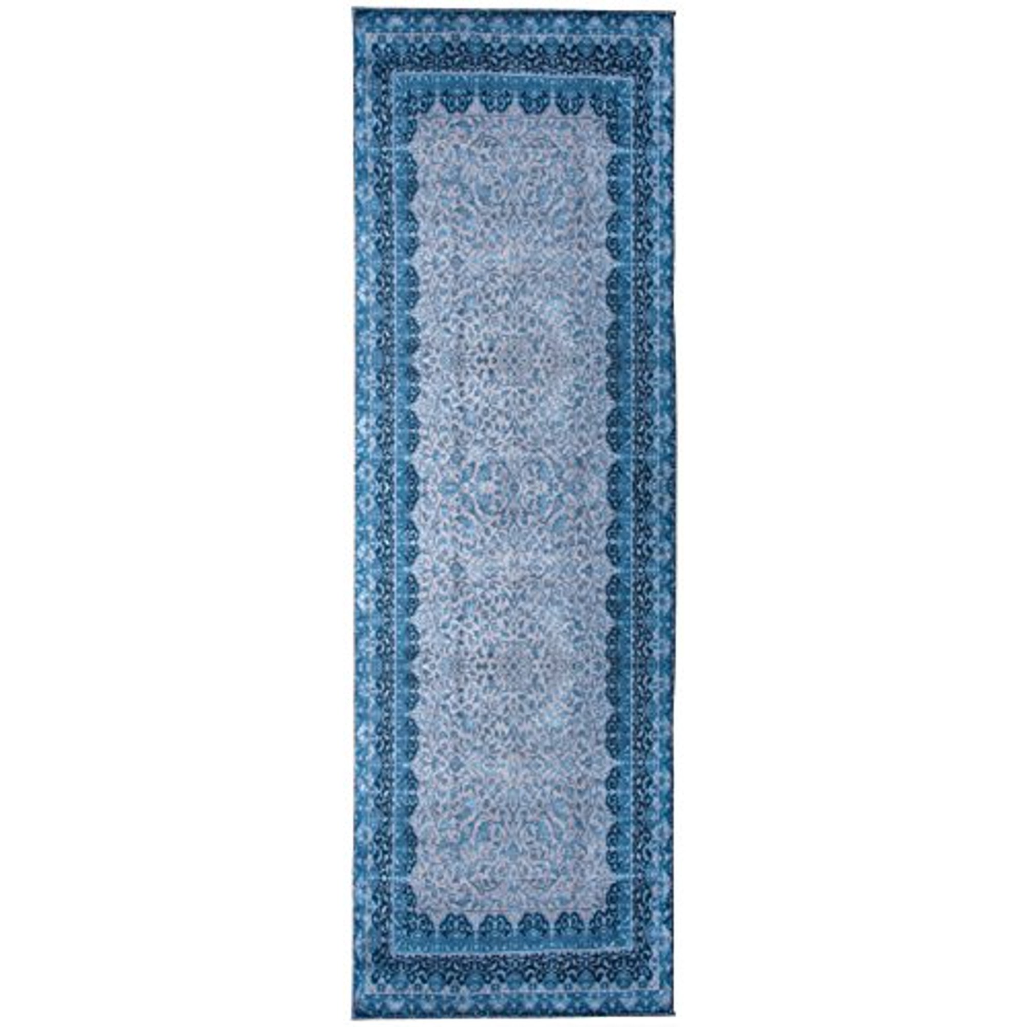 Mylife Rugs Traditional Vintage Non Slip Machine Washable Printed Area Rug Blue Grey 2 7x7 7 Walmart Canada
