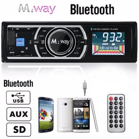 240W Large LCD Display HD Multimedia Bluetooth Car Stereo Audio AM FM Radio Receiver Speaker Single In-Dash Microphone Car Speakers, MP3 Music Player AUX USB/S D/MMC Wireless Remot