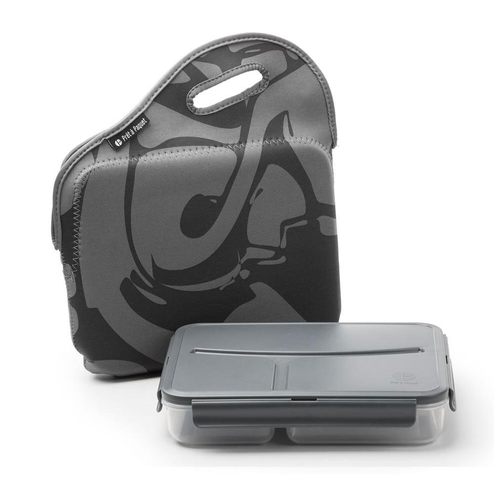 Life Story Sealing Clamp Down Sandwich or Snack Box and Zipper Carry Case, Gray