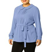 Women's Plus Size Chiffon Tops Long Sleeve Pleated Peter Pan Collar Blouses Blue (Size 2X)