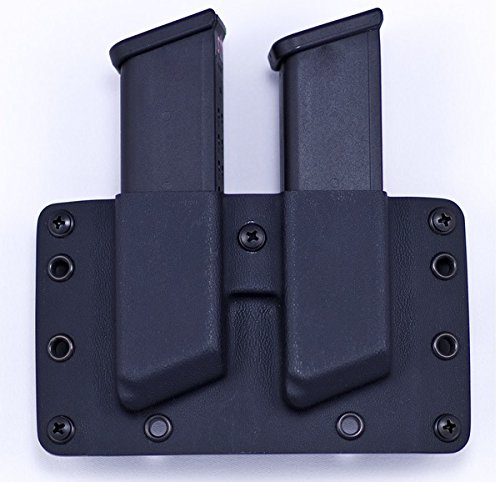 Raven Concealment Systems Double Magazine Pouch, Rounds Forward,  Fits Double Stack Glock 9/40 Magazines, Right Hand, Bl
