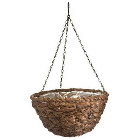 Panacea 88639 14 in. Round Water Hyacinth Hanging Basket