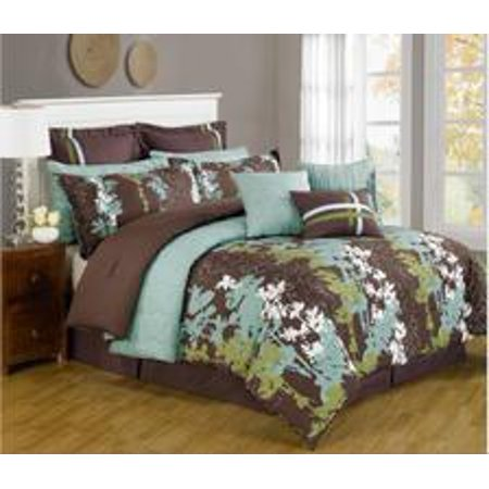 Legacy Decor 12 Pc. Teal, Green, Brown and White Floral Print Comforter Set with Quilt Included, Full Size