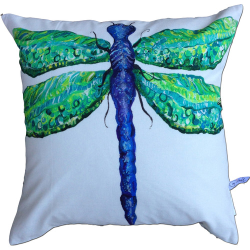 My Island Dragonfly Cotton Throw Pillow