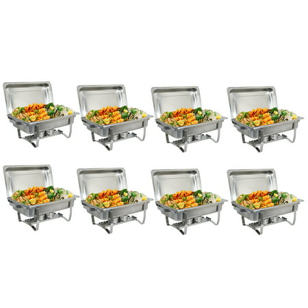 Zeny (Pack of 8) 8 Quart Full Size Chafing Dishes Buffet, Food Grade Stainless Steel, Catering Chafer Warmer Sets for for Weddings Parties Banquets Catering Events (Party Warmers)