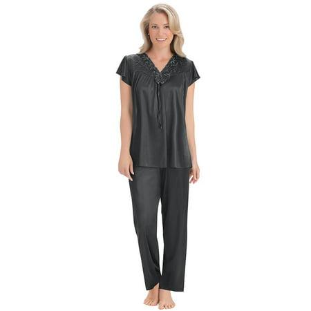 Women's Lace Trim Tricot Silky Pajama Set, Medium, Black - Sissy Pajamas