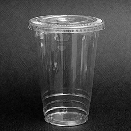 Plastic Coffee Cups With Lids (SafePro 100 Sets 24 oz Plastic CLEAR Cups with FLAT Lids for Iced Coffee Bubble Boba Tea)