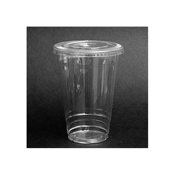 Safepro 100 Sets 20 Oz Plastic Clear Cups With Flat Lids For Iced Coffee Bubble Boba Tea Smoothie Walmart Com Walmart Com