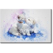 White Cat and Dog Picture on Stretched Canvas, Wall Art D?cor, Ready to Hang