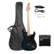 "Glarry 40"" Beginner 6 Stings 22 Fret Electric Guitar with 20W Amp and More,Dark Blue"