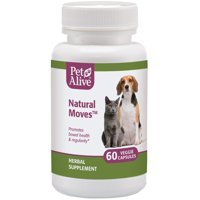 PetAlive Natural Moves - All Natural Herbal Supplement Promotes Bowel Health and Regularity in Cats and Dogs - 60 Veggie Caps
