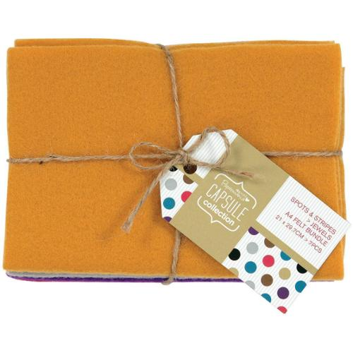 Papermania Spots/Stripes Jewels A4 Felt Bundle - 7 Pieces, 21 X 29.7cm Each