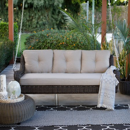 Belham Living Montauk Resin Wicker Outdoor Porch Swing Bed With Cushions
