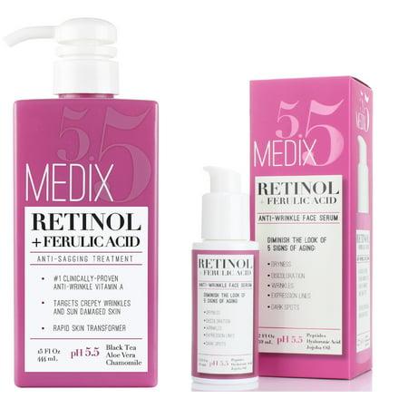 Medix 5.5 Retinol Cream & Retinol Serum two-piece set. Anti-aging retinol set w/ ferulic acid for wrinkles, fine lines, expression lines, & dark spots. Contains 2oz serum & 15oz cream (Super Aqua Body Serum)