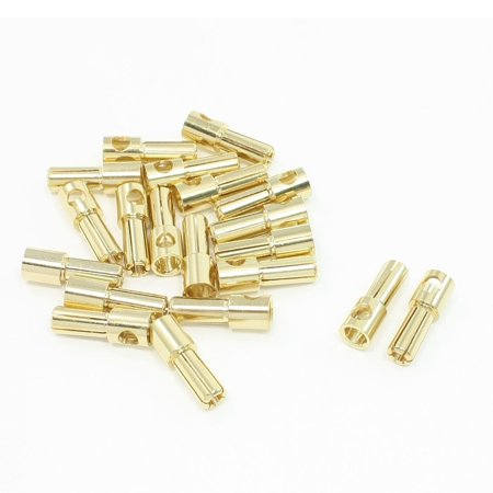 Unique Bargains 20 Pcs Gold Tone Plated 5mm Inside Dia Male Banana Plug  Connector
