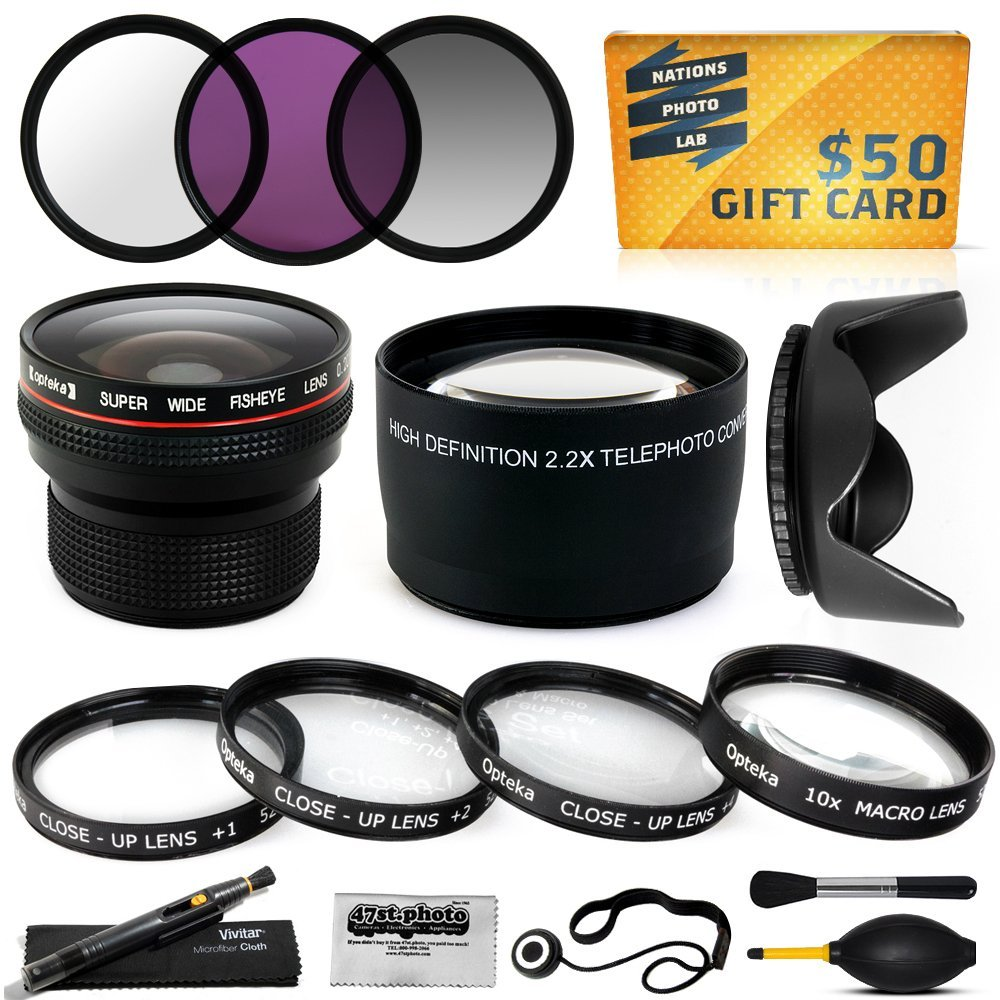 15 Piece Macro Fisheye Telephoto Lens Filters Set includes 3 Piece Filter Kit + 4 Piece Close UP Kit + .20x... by Opteka