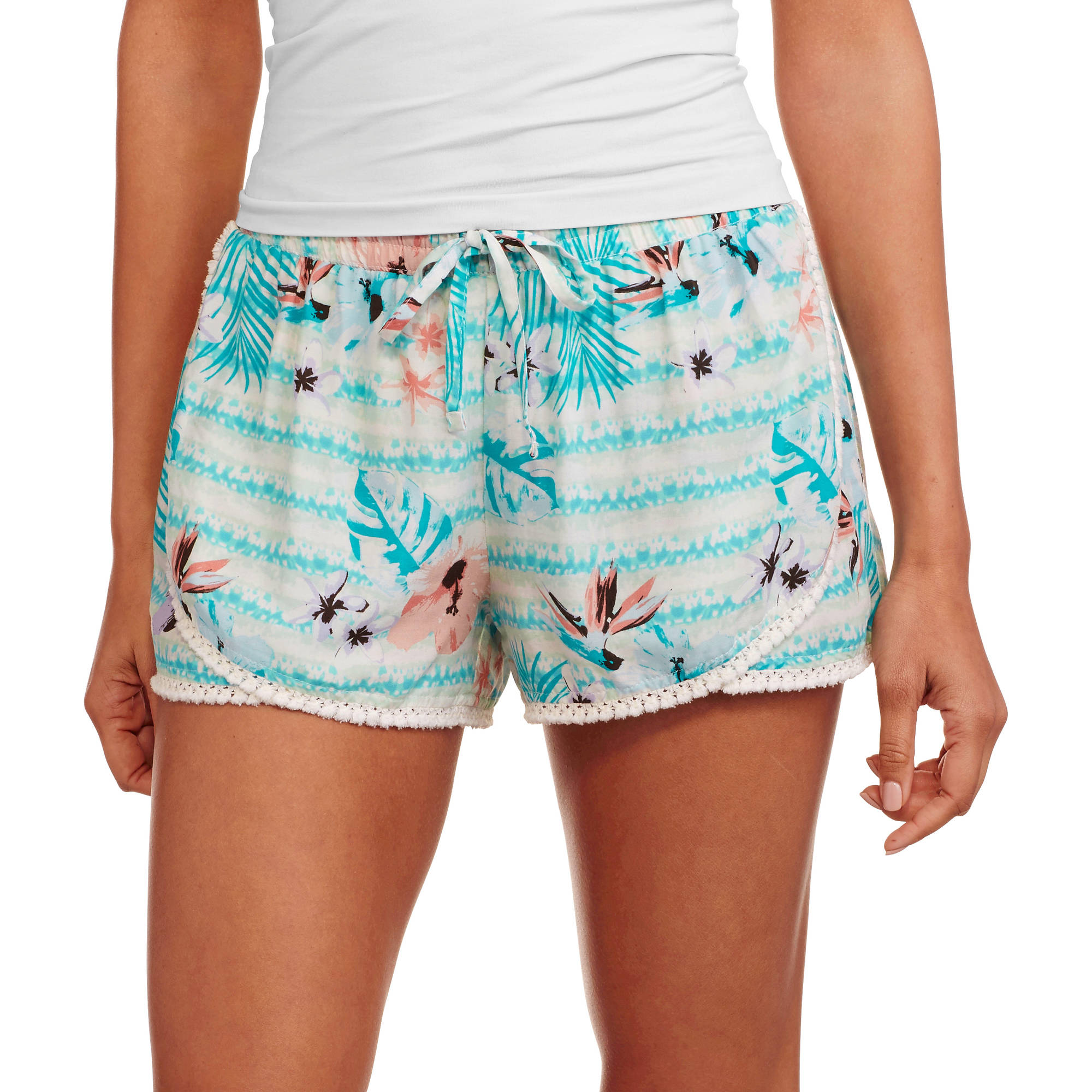 No Boundaries Juniors Printed Challis Soft Shorts
