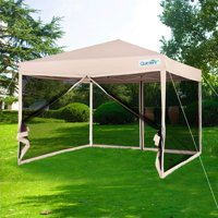 Quictent 10x10 Ez Pop up Canopy Screen House with Netting Instant Outdoor Canopy Tent Mesh Sideswalls Tan-4 Sizes