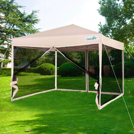 Quictent 8x8 Ez Pop up Canopy Screen House with Netting Instant Outdoor Canopy Tent Mesh Sideswalls-3 Colors (Tan)