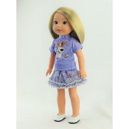 14.5 INCH DOLL: Purple Pets Inspired Skirt Outfit - Fits 14 Inch Wellie Wisher Dolls | 14 Inch Doll Clothing