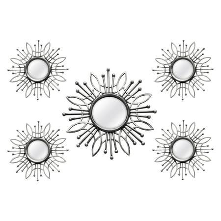 Stratton Home Decor 5 Piece Silver Burst Wall Mirror