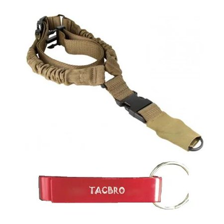 Pacific Aluminum Sling (TACBRO TAN ONE POINT BUNGEE RIFLE SLING with One Free TACBRO Aluminum Opener(Randomly Selected Color) )