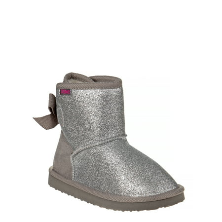 Josmo Glitter & Bows Faux Shearling Ankle Boot (Little Girls & Big Girls)