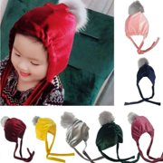 Casual Toddler Baby Kids Girl Boy Winter Warm Cute Beanie Crochet Tie Up Hat Ski Cap