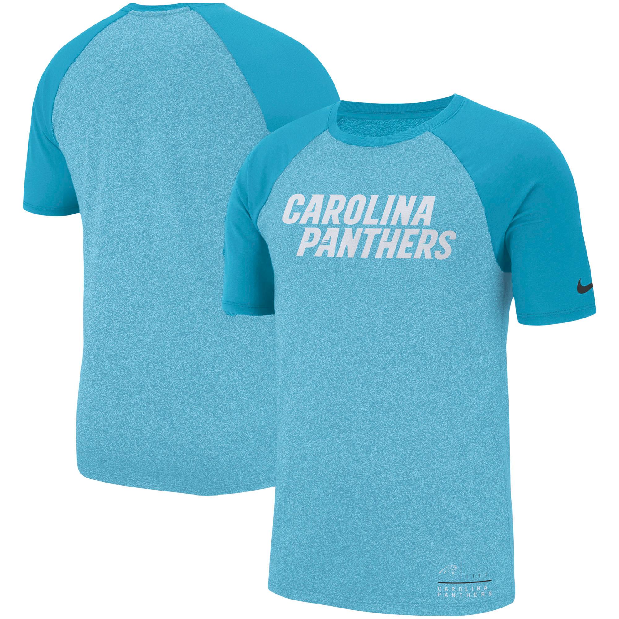 Carolina Panthers Nike Fan Gear Marled Raglan Performance T-Shirt - Heathered Blue