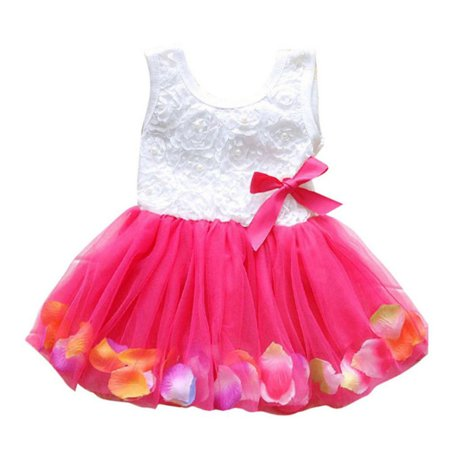 Toddler Princess Kids Baby Girls Lace Bow Flower Petal Dress Pageant Party Tutu Dress